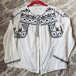 Zara girls embroidered peasant boho blouse